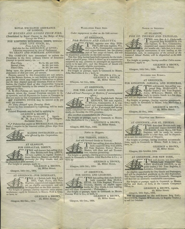 Printed letter sheet sent in 1834 with maritime advertising. Insurance, shipping advertising, Scotland.