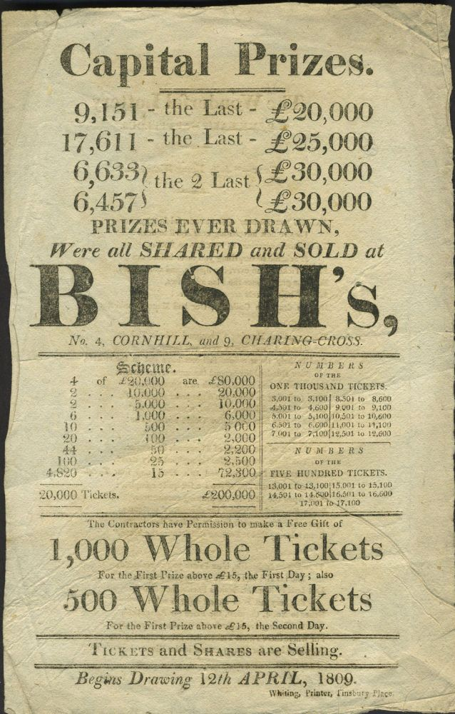 English Lottery handbill with song on verso. Lottery.