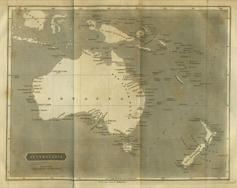 "Australasia. Map with Australia marked ""Notasia"" Map, W. Lowry."