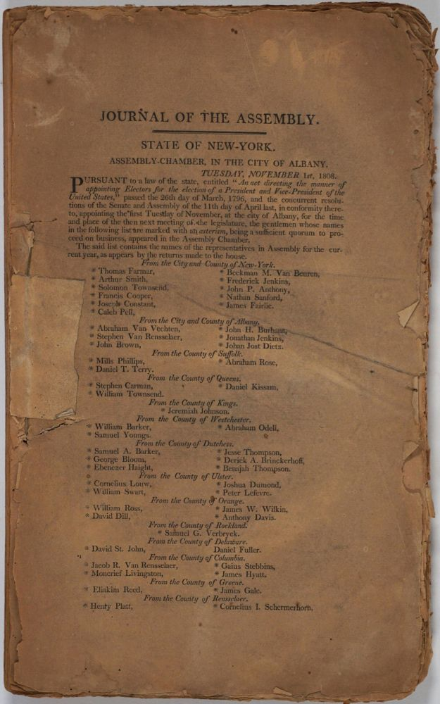 Journal of the Assembly of the State of New York. Governor Daniel D. Tompkins.