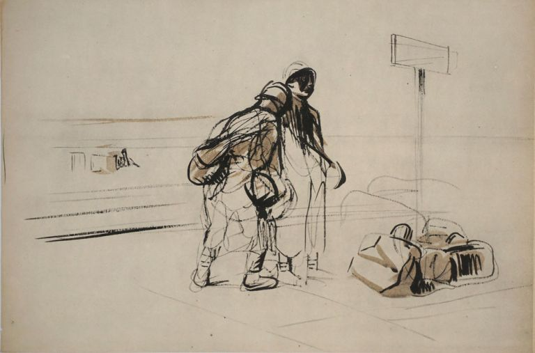 Refugees at a train station, WWI. Lithograph. Jean Louis Forain.