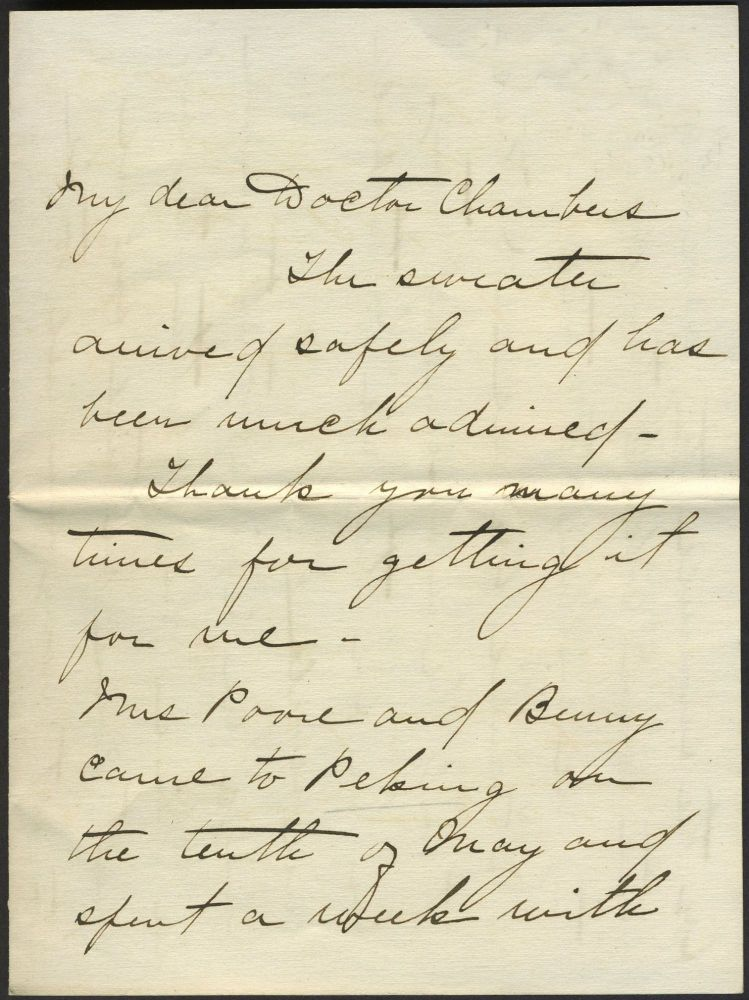 Letter from Marine Commander spouse on conditions in China, 1917.