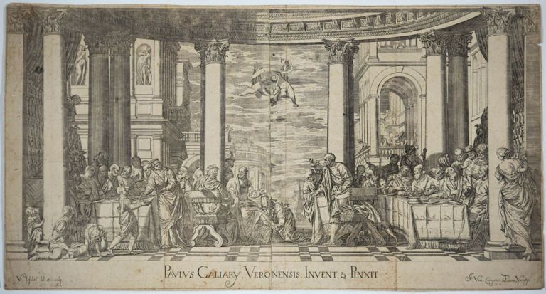 """""""Paulus Caliary Veronensis Invent & Pinxit"""": Mary Magdalene anointing the feet of Jesus. Copper engraving. Valentin Lefebre."""