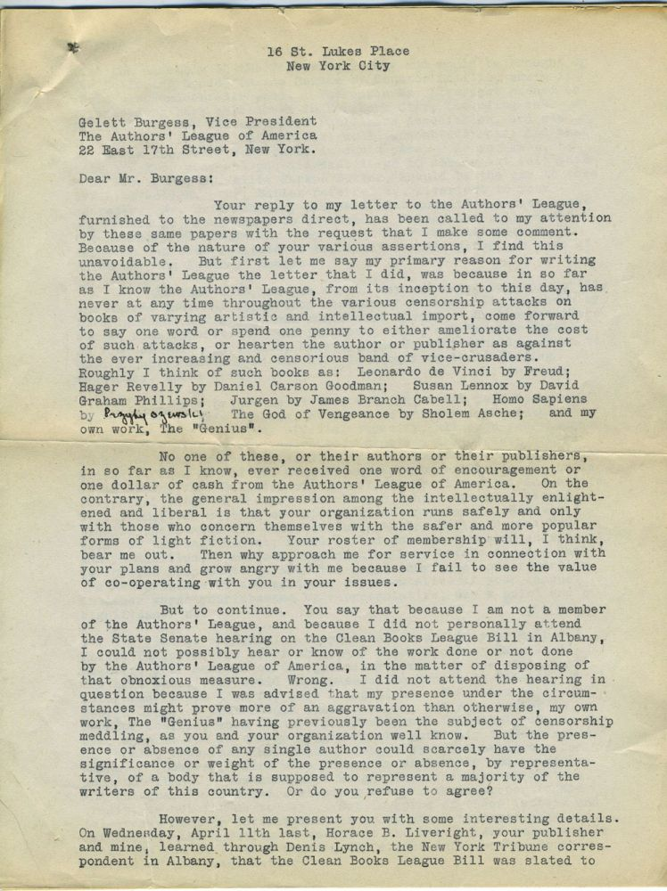 Typed Dreiser letter to Authors' League of America, on censorship. Theodore Dreiser.