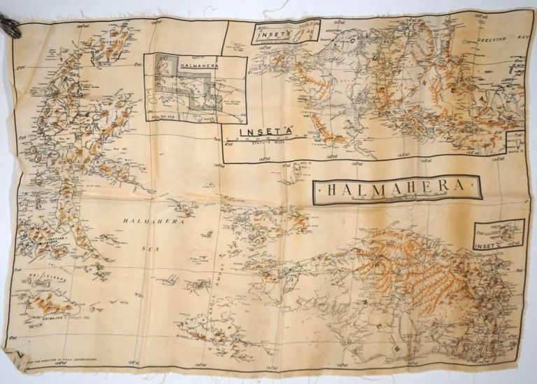RAAF Escape & Evasion Silk map, Halmahera and New Guinea. WWII, Aviation, New Guinea.