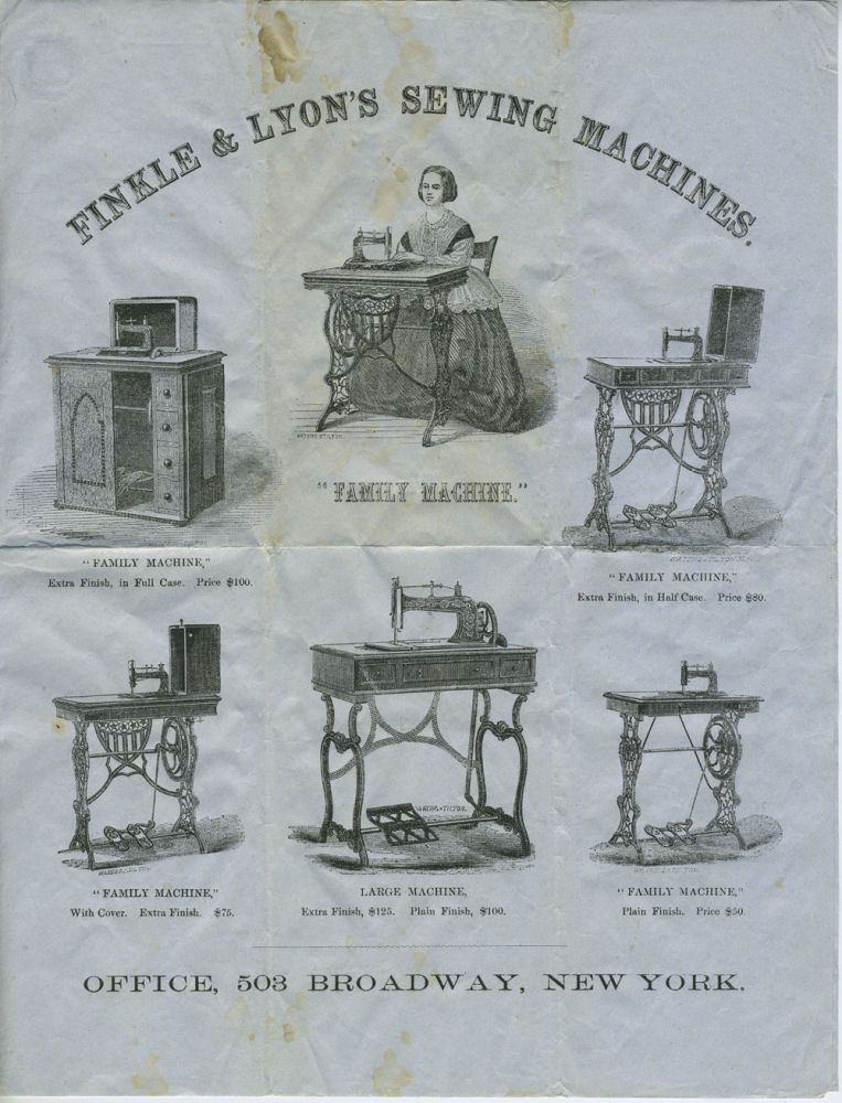 Finkle & Lyon's Sewing Machine. Broadside.