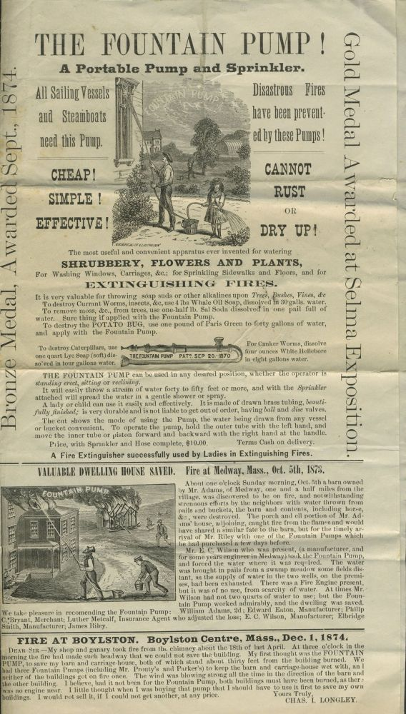 """The Fountain Pump! A Portable Pump and Sprinkler. All Sailing Vessels and Steamboats need this Pump"". Broadside and handbill."
