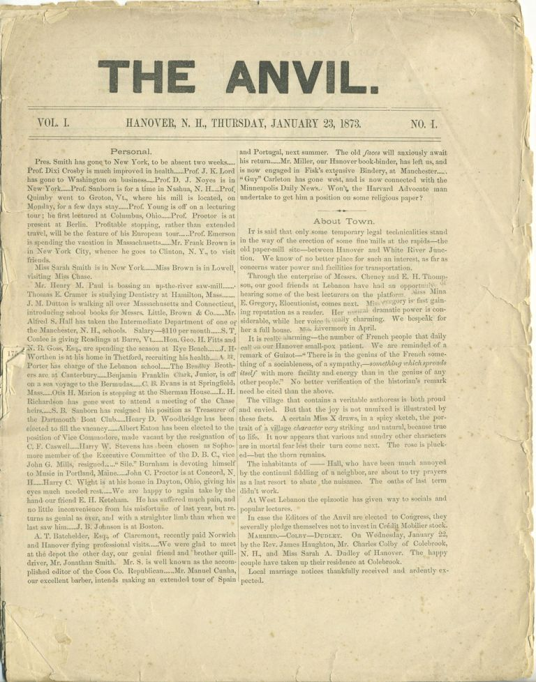'The Anvil'. Woman's Rights article in Dartmouth College newspaper. Women, Suffrage, Victoria Woodhull, Emily Faithful.