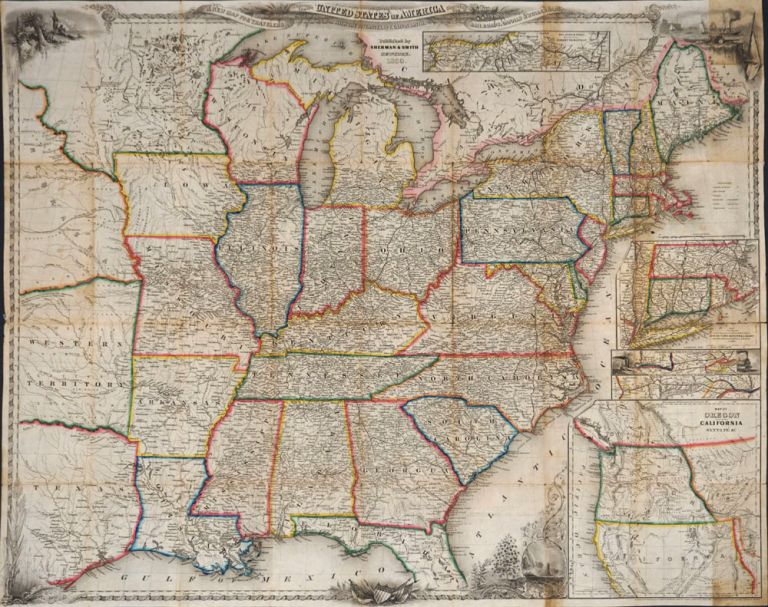 A New Map for Travelers Through the United States of America Showing the Railroads, Canals & Stage Roads. Map. J. Calvin Smith.