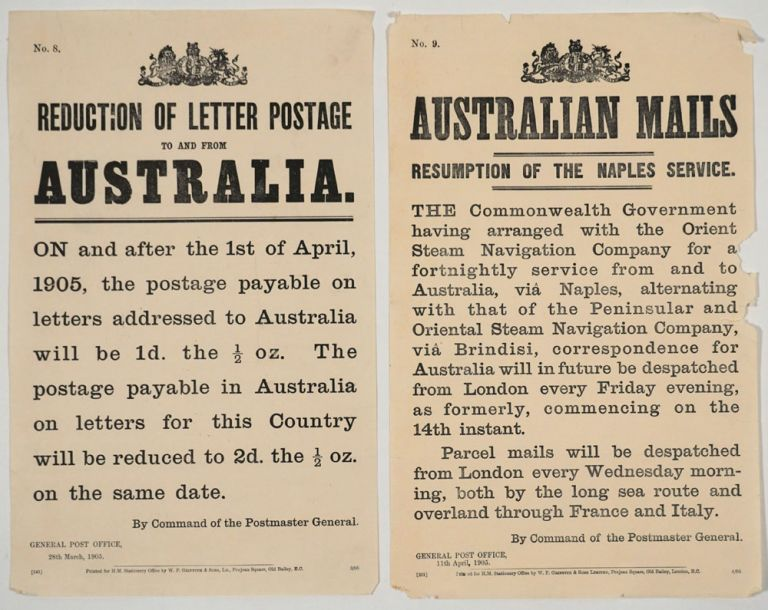 """Reduction of Letter Postage to and from Australia"" [with] ""Australian Mails, Resumption of the Naples Service"". Broadsides. Broadsides, Australia."