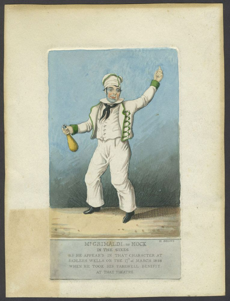 'Mr. Grimaldi, as Hock in The Sixes. As He appear'd in that Character at Sadlers Wells on the 17th of March 1828 when he took his farewell benefit at that theatre.' Hand colored engraving. H. Brown, Henri.