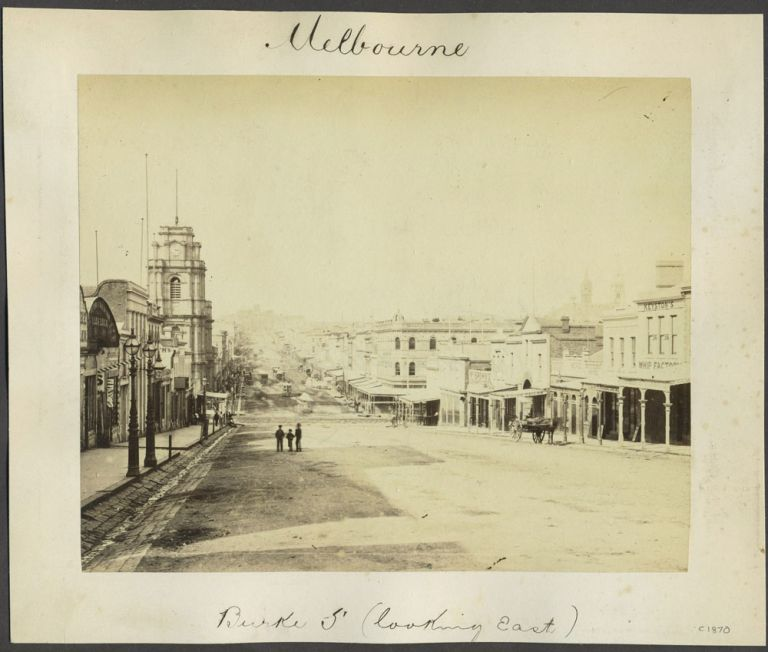 """Melbourne, Burke St (looking East)"". Albumen photograph of Bourke St."