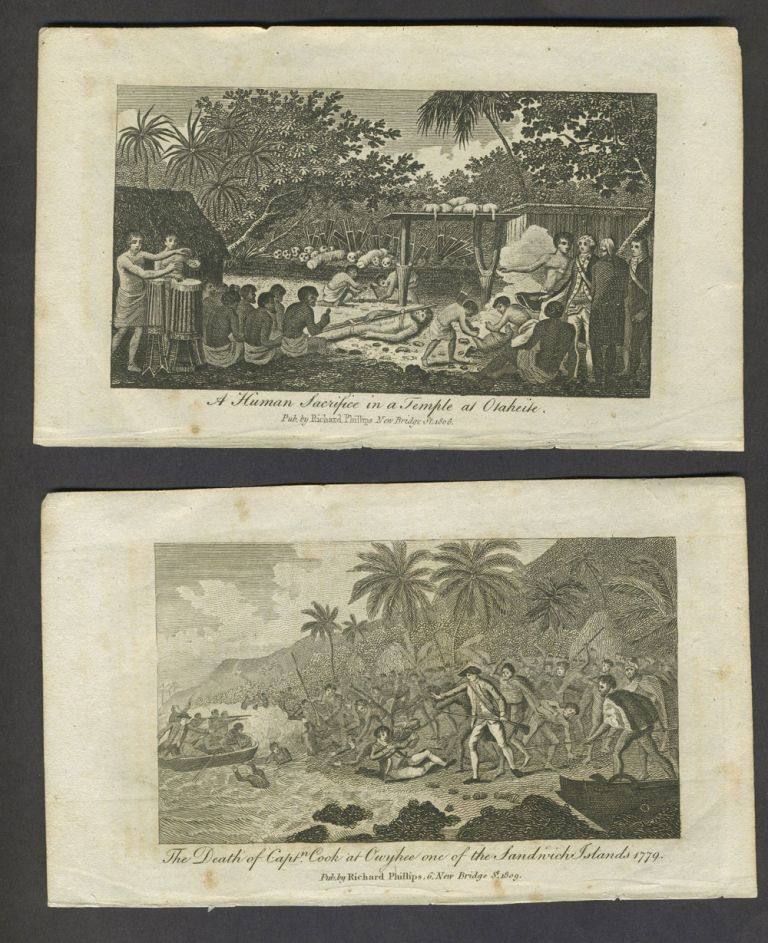 Death of Capt. Cook & Otaheite view. Copper engravings.