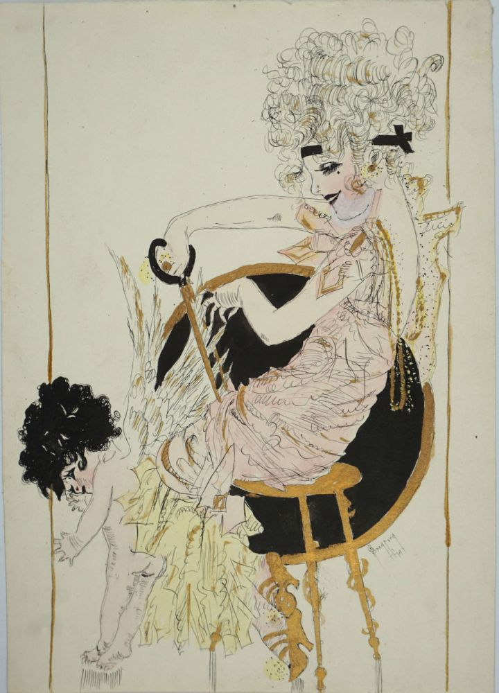 Flapper clipping Cupid's wings. Original pen and ink illustration. Bradford.
