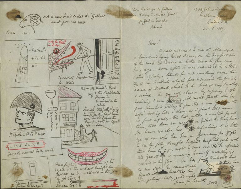 Cartoon illustrated letter from Germany, 1889.