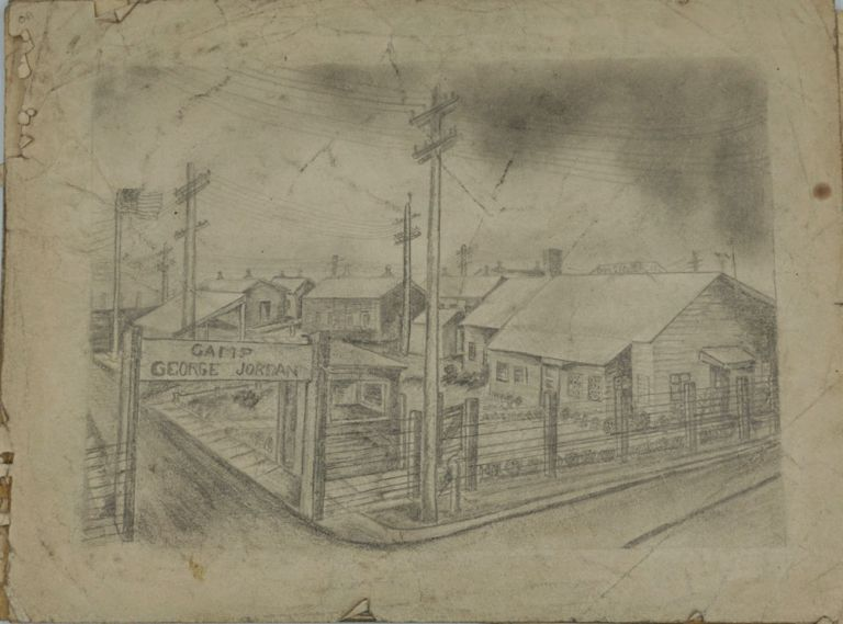 Collection of original sketches of Camp George Jordan, W.W.II segregated Army camp. African American Soldiers, W W. I. I.