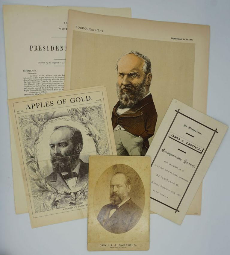 """Puckographs I, James A. Garfield"", with cabinet card portrait and 3 other items. Presidents, James A. Garfield."