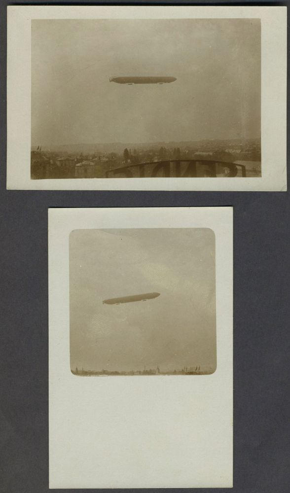 Pair of vernacular WWI Dirigible real picture postcards.
