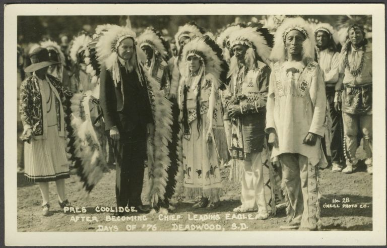 """Pres. Coolidge After Becoming Chief Leading Eagle, Days of '76, Deadwood, S.D."" Real picture postcard."