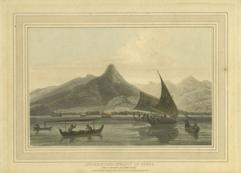 """Anjere Point, Straits of Sunda"". Color aquatint. Thomas Daniell."