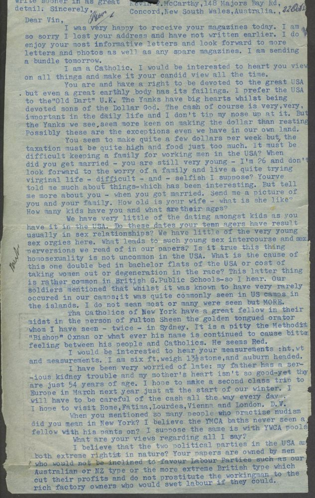 """Australian post W.W.II. letter, with Black """"Negro"""", Japanese content. K. McCarthy."""