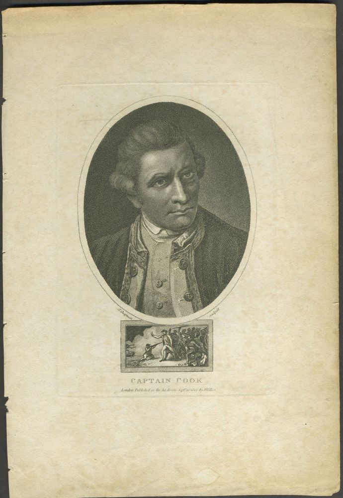 Captain Cook. Stipple engraved portrait with Death of Cook vignette. John Chapman, after Nathaniel Dance.