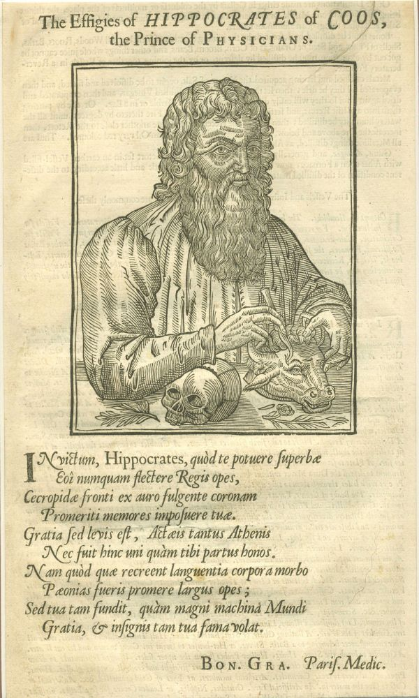 The Effigies of Hippocrates of Coos, the Prince of Physicians. Woodblock portrait. Ambroise Pare, Thomas Johnson.