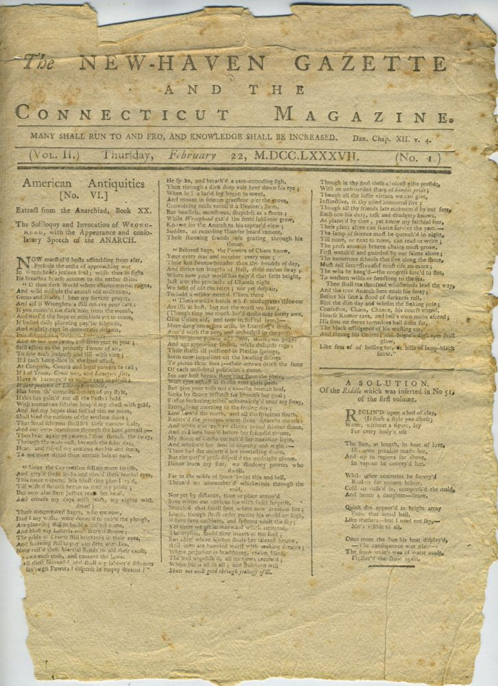 The New-Haven Gazette and the Connecticut Magazine,16 separate sheets, Vol. II, No. 1, 7, 16, 26, 29, 43. Incomplete.