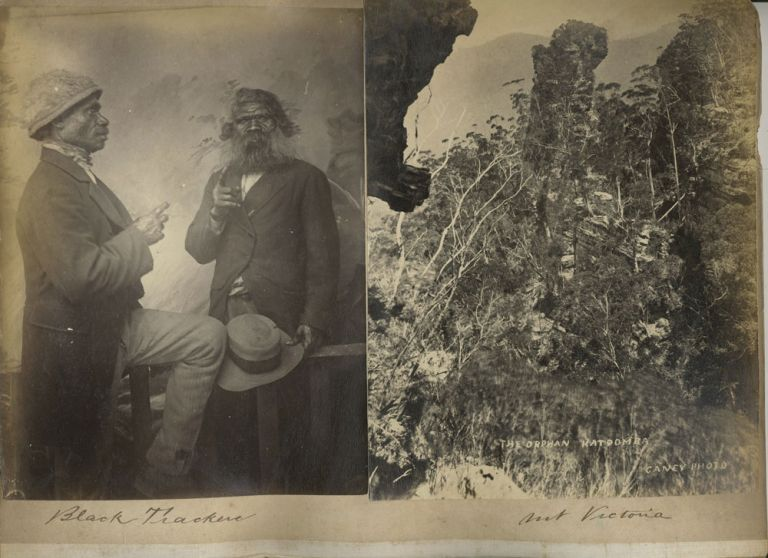 """Black Trackers"", aborigines, [with] 'Pulpit Rock, Mt. Victoria', 'Rock of Ages', 'The Orphan, Katoomba'. Photographs. Australia, Photography."