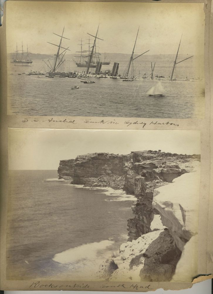 """S. S. Austral Sunk in Sydney Harbor"" [with] 3 Bayliss images: 'Rocks Outside South Head', ""Barrys Bay"", St. Phillips Church, Church Hill"". Albumen photographs. Charles Bayliss."
