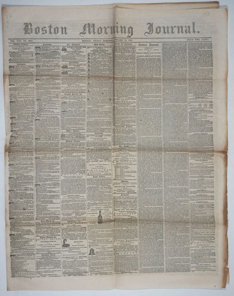 China and Civil War News articles appearing in Boston Morning Journal Vol. XXX, No. 8924, January 24 1862.