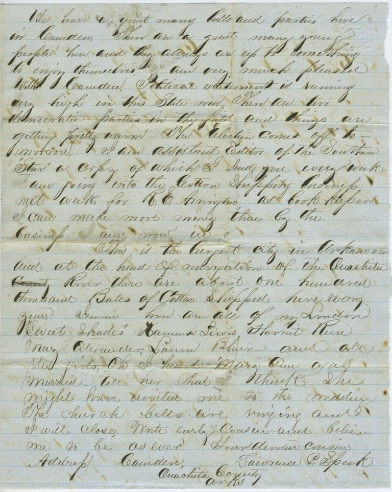 Manuscript letter discussing politics and job opportunities in Camden, Oachita County, Arkansas in 1860. Arkansas, Lawrence P. Speck.