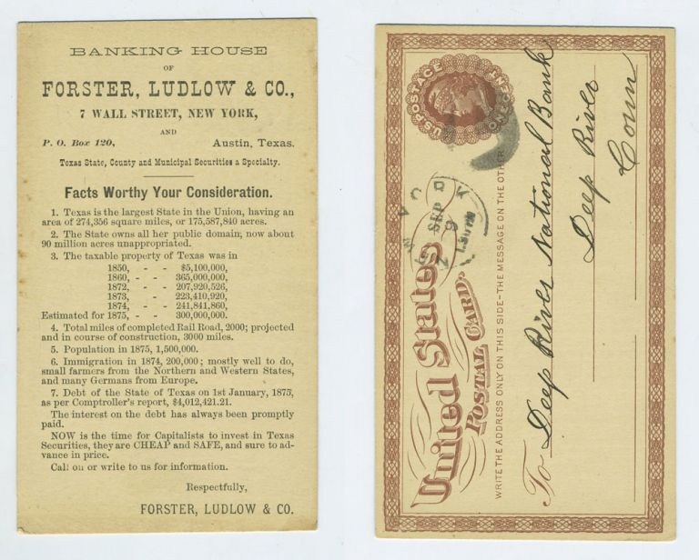 NOW is the time for Capitalists to invest in Texas Securities, they are CHEAP and SAFE, and sure to advance in price, post card. Texas Austin, Securities trading.