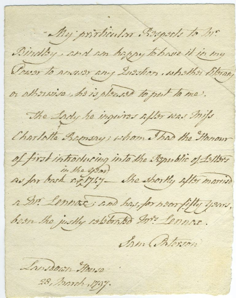 ALS letter from Samuel Paterson, bookseller, to Mr. Brindley regarding Mrs. Charlotte Lennox. Book Selling, Collecting.