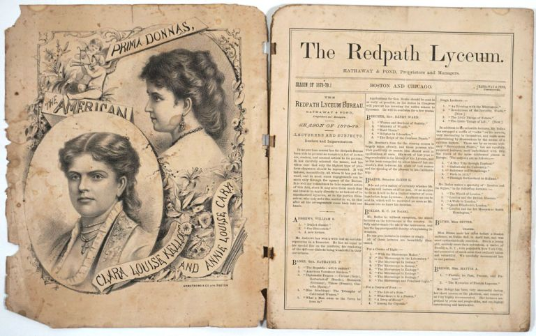 The Redpath Lyceum compilation of performances for the Season of 1878 - 1879. Including article on The Age of Gold & Yosemite Valley & a Susan B. Anthony impersonator performance. California Gold, Susan B. Anthony impersonator.