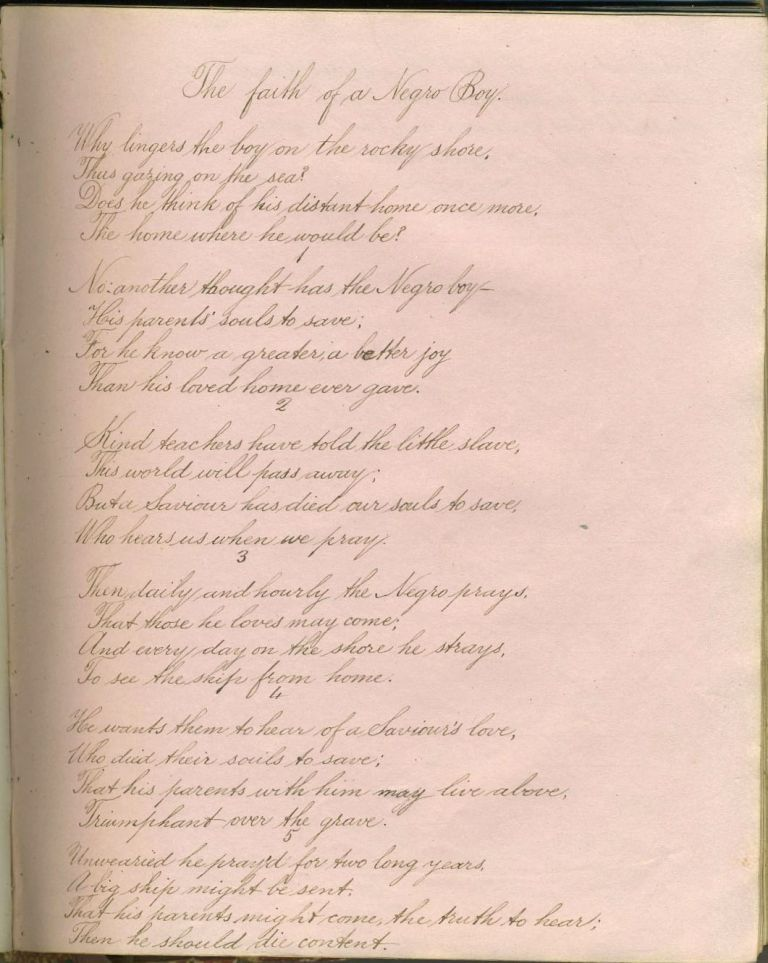 "Friendship book 1863, with poem about a slave, ""The Faith of a Negro Boy"" Slavery."