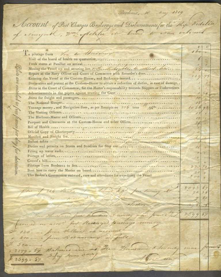 Bordeaux Account of Port Charges, Brokerage and Disbursements for the Ship 'Fidelia' of New York, Wm. Ashley Capt., bound for New Orleans. Re-establishing US transatlantic trade after War of 1812.