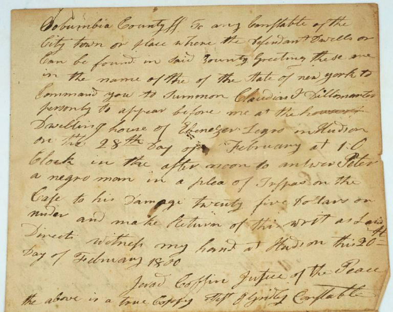 """Case of trespass brought by """"Peter, a negro man"""" in 1800, Hudson NY. African American, New York Hudson."""