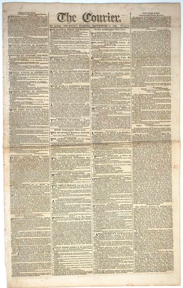 Moreton Bay release of 57th Regiment prisoners, article in 'The Courier' newspaper. New South Wales, New Zealand, Queensland, Convicts.