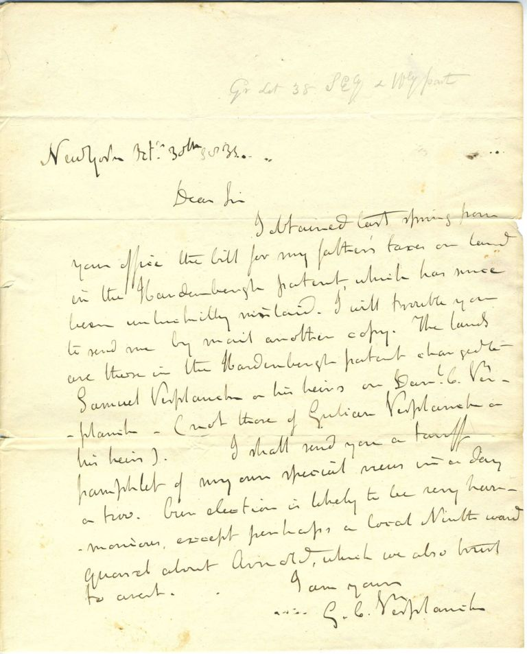 G. C. Verplanck ALS letter to NY Comptroller Silas Wright about tax bill on land in the Hardenburgh Patent belonging to Verplanck Sr. Gulian Crommelin Verplanck.