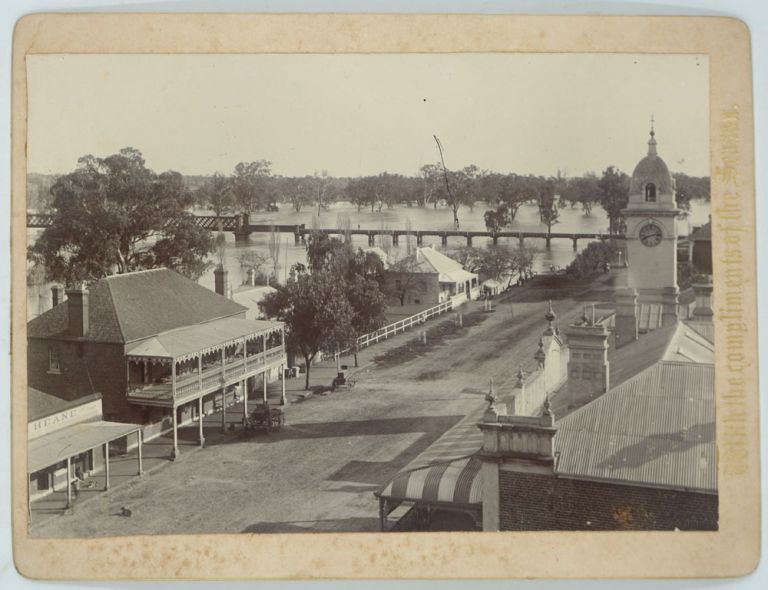 "Dubbo and the ""Mcquarrie (sic) River in Flood"", with notes by W. Moseley. Christmas Card. New South Wales, Photography."