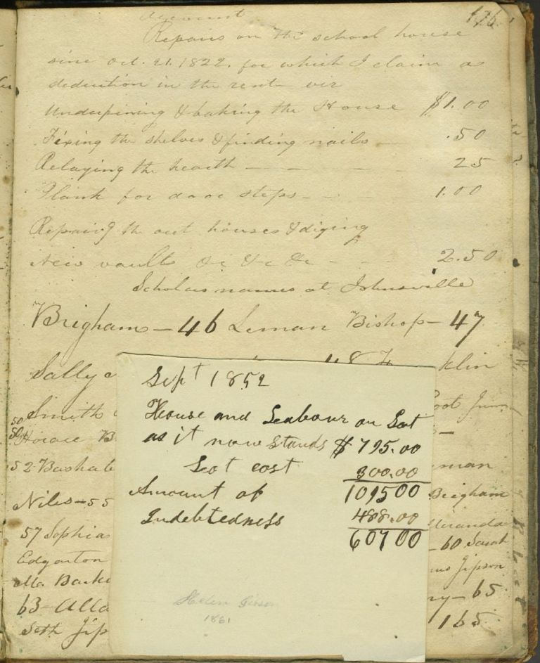Madison County NY School record book, 1823 - 1828, with late entries for 1851. New York, Schools.