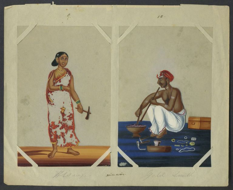 14 Paintings on mica of trades people of India, with original index. India, Trades.