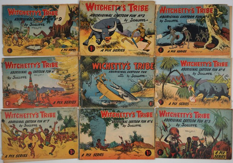 "Witchetty's Tribe. Aboriginal Cartoon Fun. 20 numbers including the first number, spelled ""Wichetty's Tribe"" Eric Jolliffe."