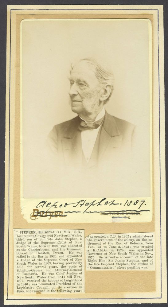 Sir Alfred Stephen. Cabinet card portrait, signed. Sir Alfred Stephen, New South Wales.