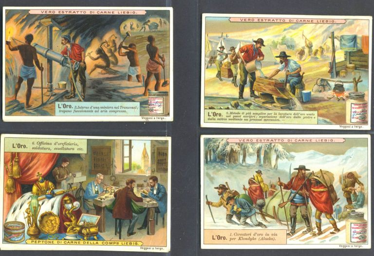 "Set of 6 cards featuring gold and gold mining, for ""Veritable Extrait de Viande Liebig"""