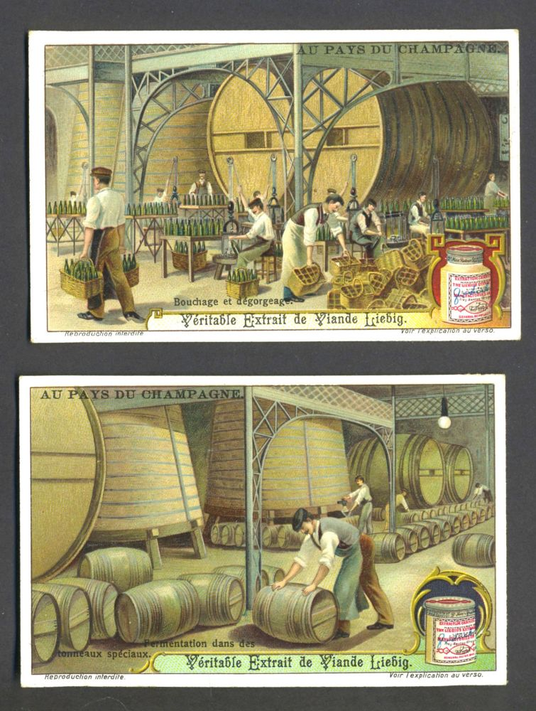 """Set of 6 cards featuring wine & champagne making, for """"Veritable Extrait de Viande Liebig"""""""