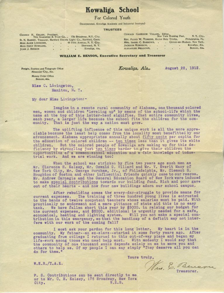 Kowaliga School for Colored Youth, charity appeal to a Garrison NY resident. African American, Alabama.