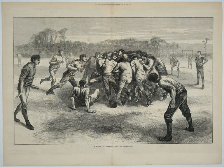 A Match at Football - the Last Scrimmage (Soccer). Soccer, England vs. Scotland, artist E. Buckman, Swain sc.