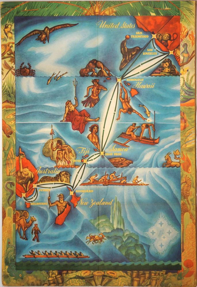 Matson Travel Offerings, Winter Season. Hawaii, Samoa, Fiji, New Zealand, Australia. [Color illustrated travel brochure with pictorial map]. Australia, Travel poster.